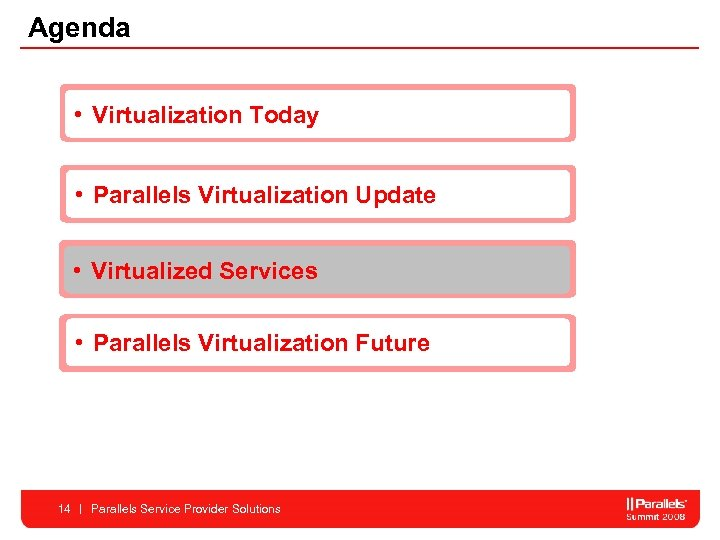 Agenda • Virtualization Today • Parallels Virtualization Update • Virtualized Services • Parallels Virtualization