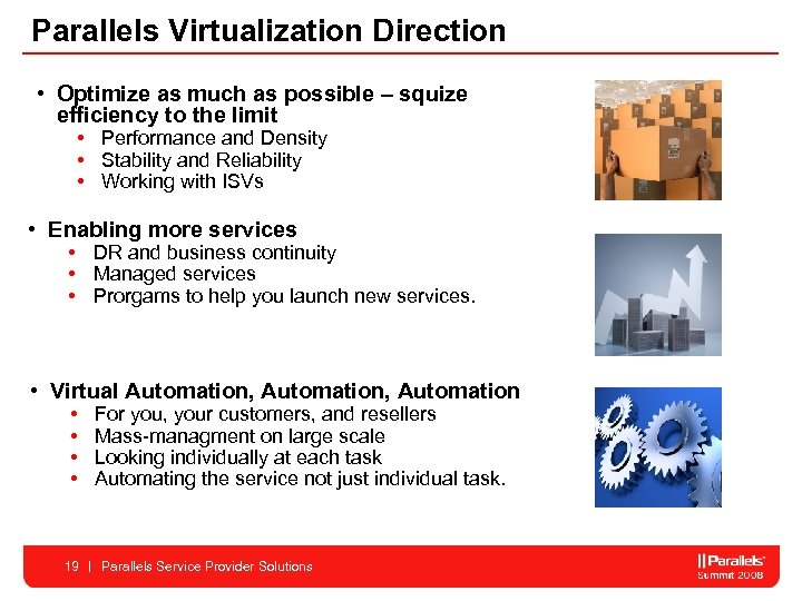 Parallels Virtualization Direction • Optimize as much as possible – squize efficiency to the