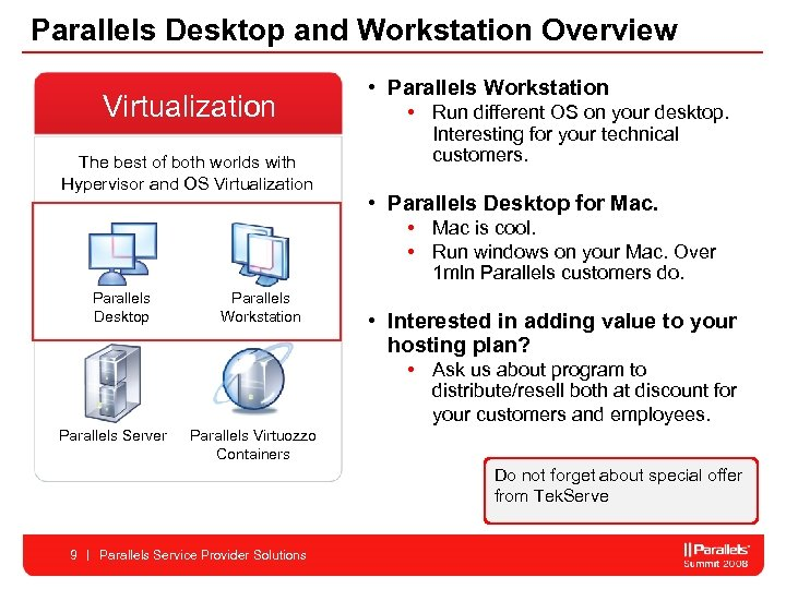 Parallels Desktop and Workstation Overview Virtualization The best of both worlds with Hypervisor and