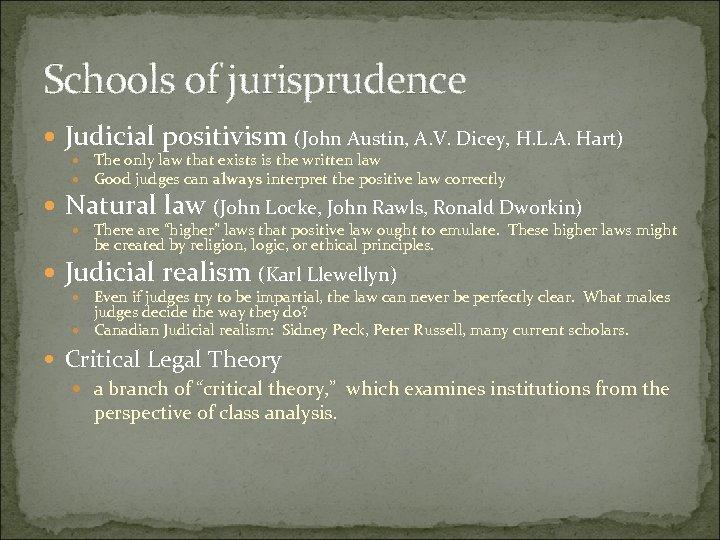 Schools of jurisprudence Judicial positivism (John Austin, A. V. Dicey, H. L. A. Hart)