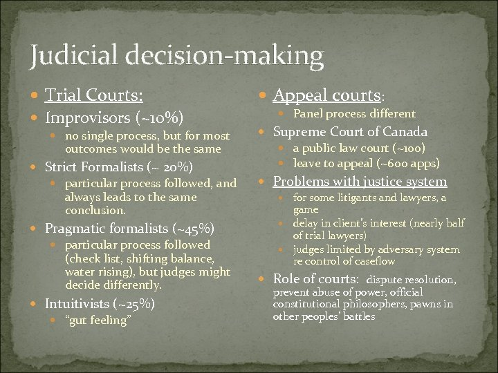 Judicial decision-making Trial Courts: Improvisors (~10%) no single process, but for most outcomes would
