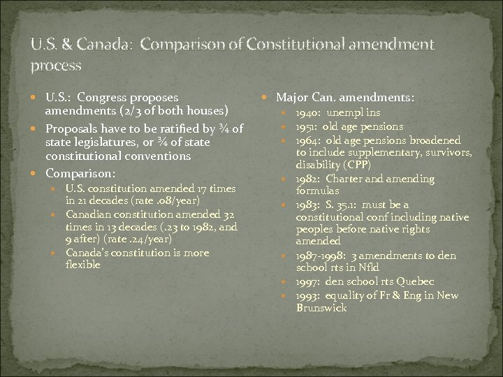 U. S. & Canada: Comparison of Constitutional amendment process U. S. : Congress proposes