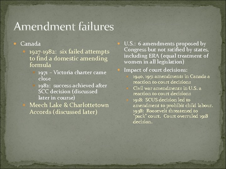 Amendment failures Canada 1927 -1982: six failed attempts to find a domestic amending formula