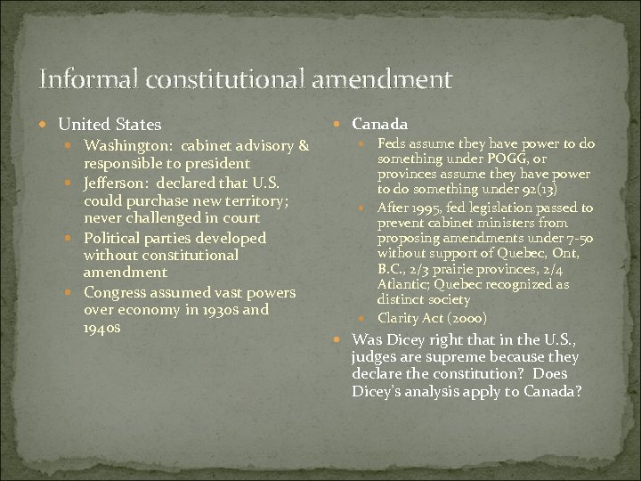 Informal constitutional amendment United States Washington: cabinet advisory & responsible to president Jefferson: declared