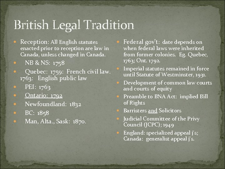 British Legal Tradition Reception: All English statutes enacted prior to reception are law in