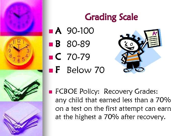 Grading Scale A n. B n. C n. F n n 90 -100 80