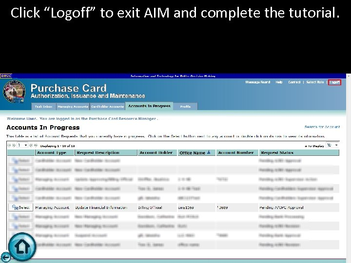 "Click ""Logoff"" to exit AIM and complete the tutorial."
