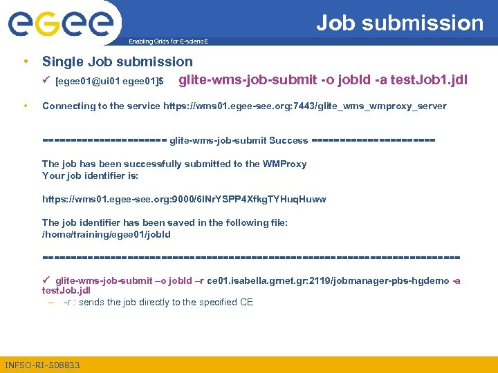 Job submission Enabling Grids for E-scienc. E • Single Job submission [egee 01@ui 01