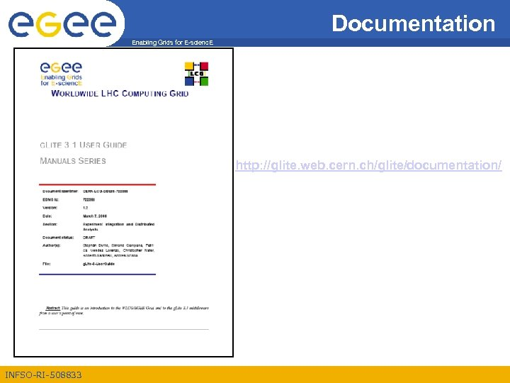 Documentation Enabling Grids for E-scienc. E http: //glite. web. cern. ch/glite/documentation/ INFSO-RI-508833