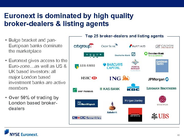 Euronext is dominated by high quality broker-dealers & listing agents • Bulge bracket and