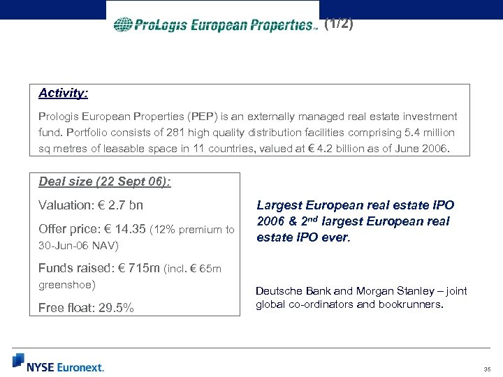 (1/2) Activity: Prologis European Properties (PEP) is an externally managed real estate investment fund.