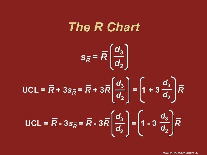 The R Chart d 3 s. R = R d 2 d 3 UCL