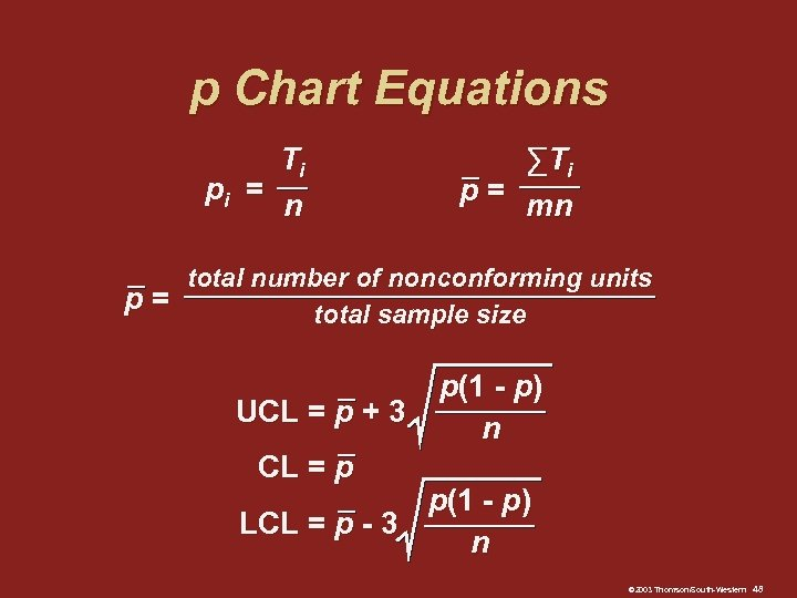 p Chart Equations Ti pi = n ∑Ti p= mn total number of nonconforming