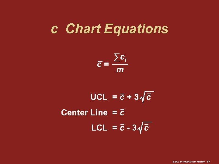 c Chart Equations ∑ ci c= m UCL = c + 3 c Center