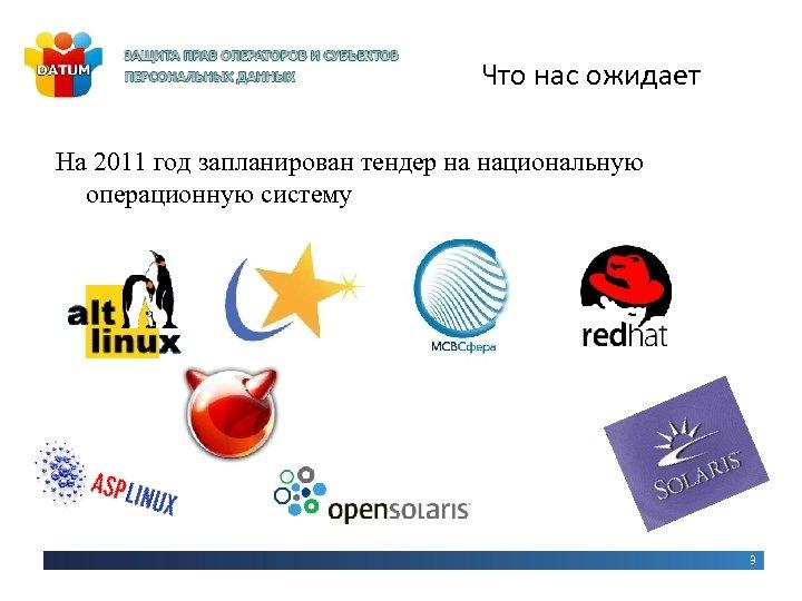 Что нас ожидает На 2011 год запланирован тендер на национальную операционную систему 3