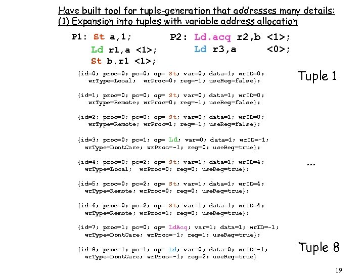 Have built tool for tuple-generation that addresses many details: (1) Expansion into tuples with