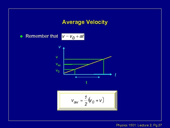 Average Velocity l Remember that v v vav v 0 t t Physics 1501: