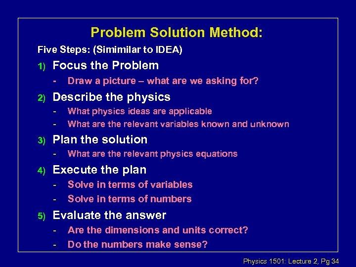 Problem Solution Method: Five Steps: (Simimilar to IDEA) 1) Focus the Problem - 2)
