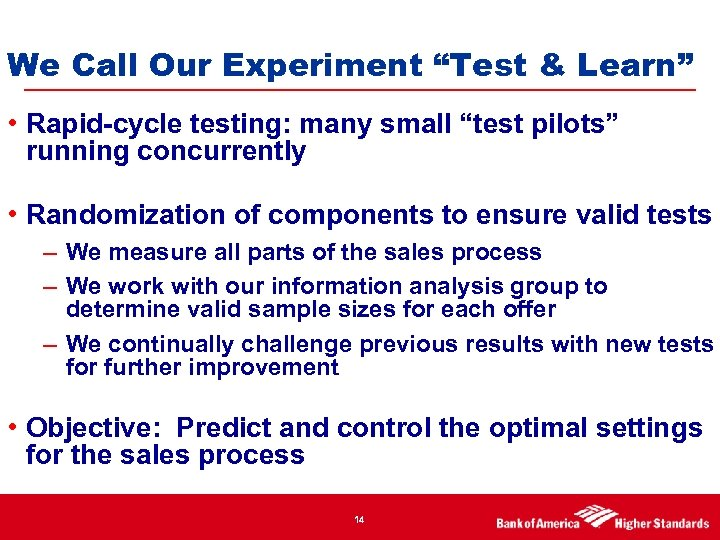 "We Call Our Experiment ""Test & Learn"" • Rapid-cycle testing: many small ""test pilots"""
