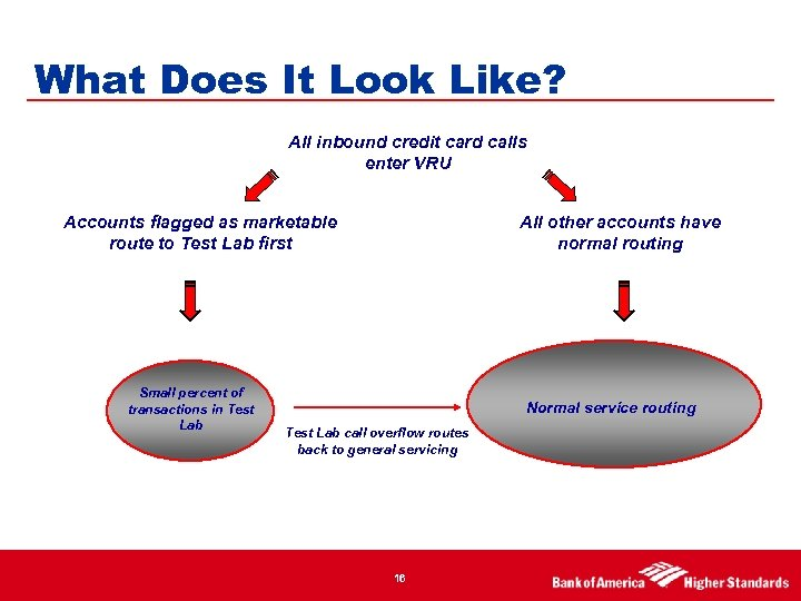 What Does It Look Like? All inbound credit card calls enter VRU Accounts flagged