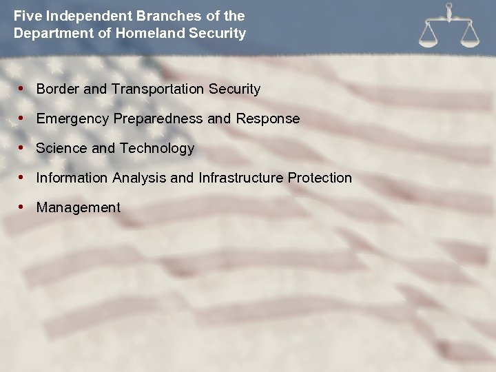 Five Independent Branches of the Department of Homeland Security Border and Transportation Security Emergency