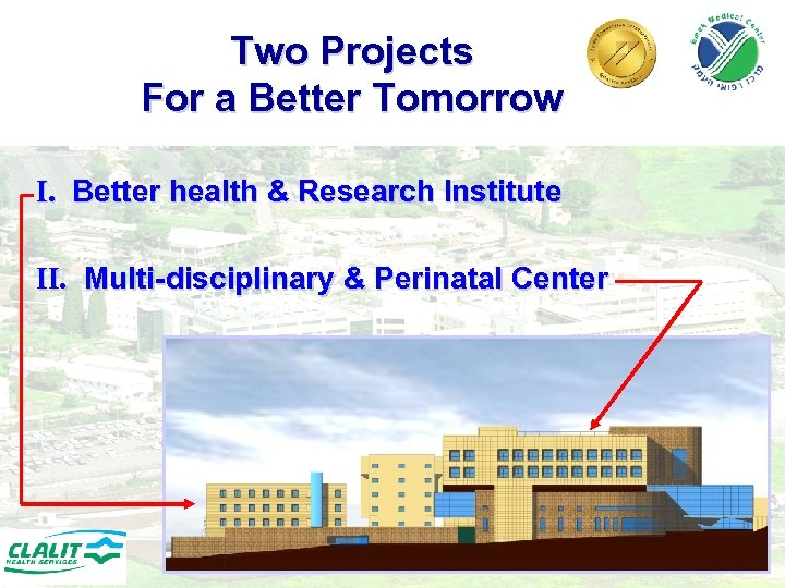 Two Projects For a Better Tomorrow I. Better health & Research Institute II. Multi-disciplinary