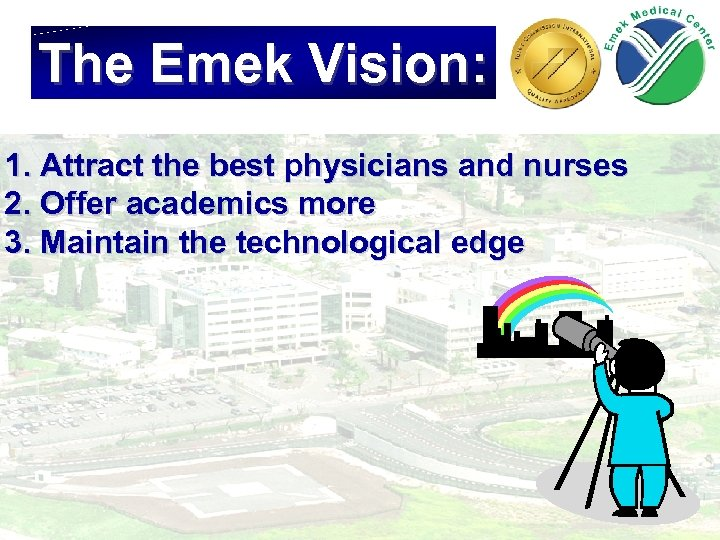 The Emek Vision: 1. Attract the best physicians and nurses 2. Offer academics more