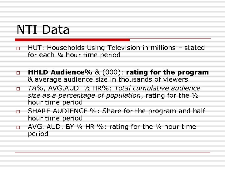 NTI Data o o o HUT: Households Using Television in millions – stated for