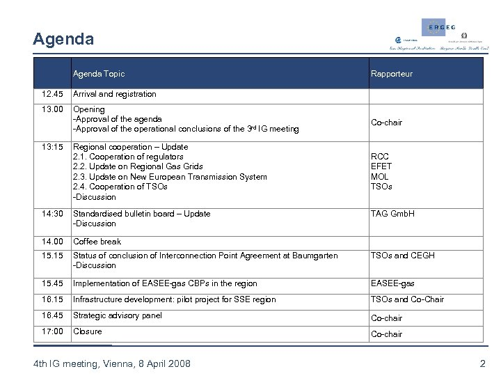 Agenda Topic Rapporteur 12. 45 Arrival and registration 13. 00 Opening -Approval of the