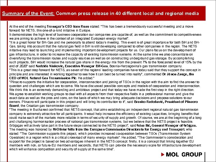 Summary of the Event: Common press release in 40 different local and regional media