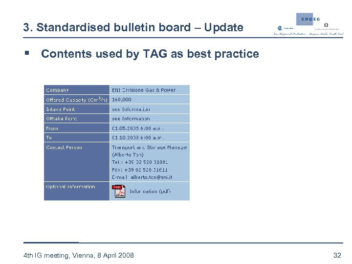 3. Standardised bulletin board – Update § Contents used by TAG as best practice