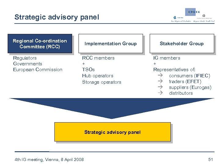 Strategic advisory panel Regional Co-ordination Committee (RCC) Regulators Governments European Commission Implementation Group RCC