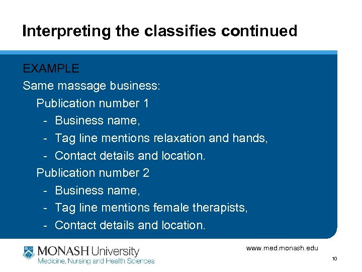 Interpreting the classifies continued EXAMPLE Same massage business: Publication number 1 - Business name,