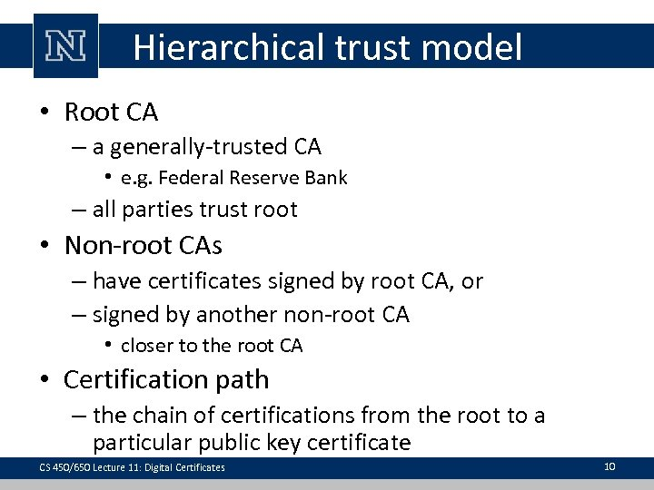 Hierarchical trust model • Root CA – a generally-trusted CA • e. g. Federal