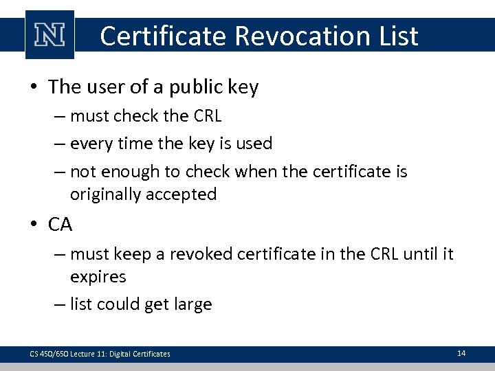 Certificate Revocation List • The user of a public key – must check the