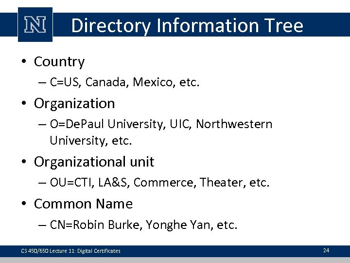 Directory Information Tree • Country – C=US, Canada, Mexico, etc. • Organization – O=De.