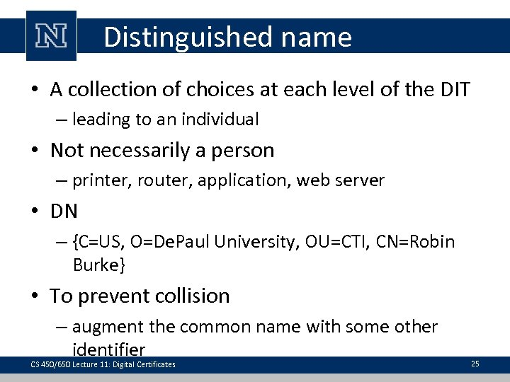 Distinguished name • A collection of choices at each level of the DIT –