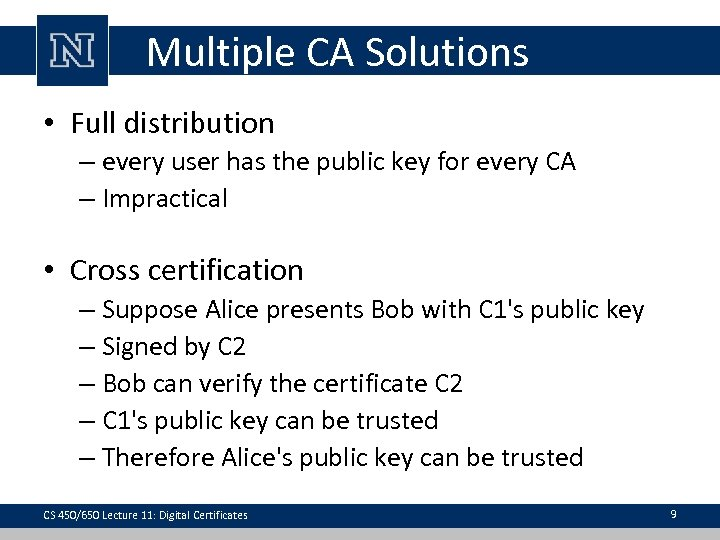 Multiple CA Solutions • Full distribution – every user has the public key for