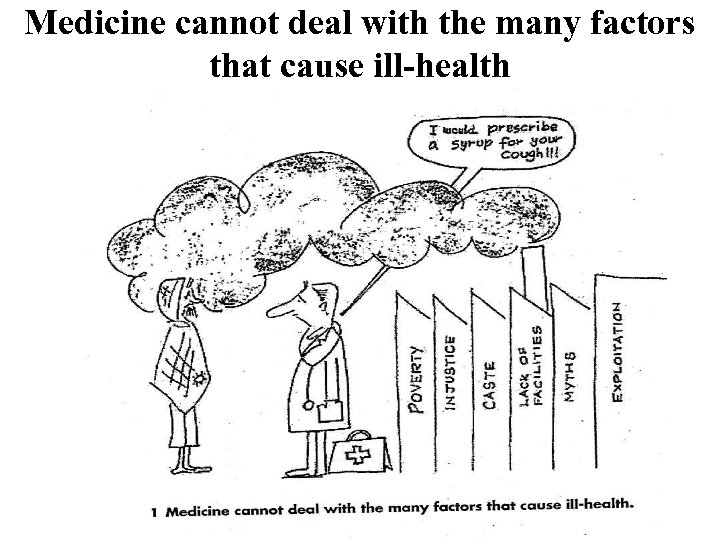 Medicine cannot deal with the many factors that cause ill-health