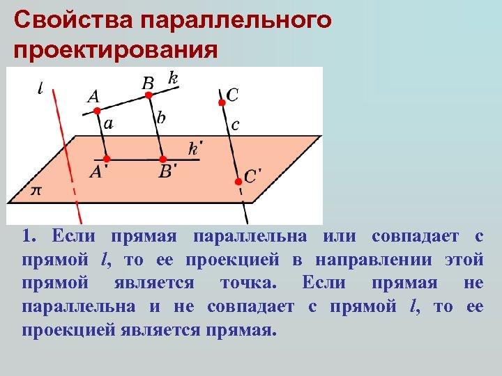 Свойства параллельного проектирования 1. Если прямая параллельна или совпадает с прямой l, то ее