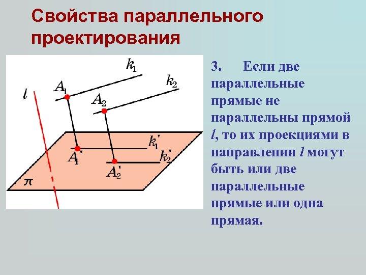 Свойства параллельного проектирования 3. Если две параллельные прямые не параллельны прямой l, то их
