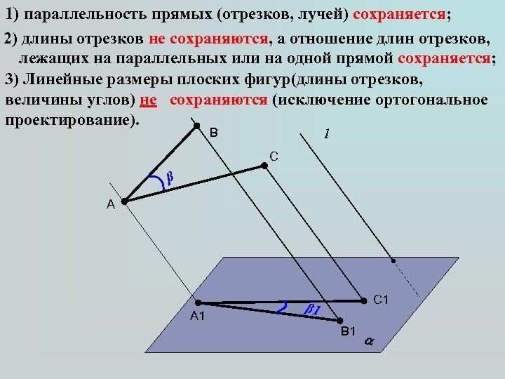 1) параллельность прямых (отрезков, лучей) сохраняется; 2) длины отрезков не сохраняются, а отношение длин