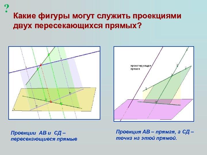 ? Какие фигуры могут служить проекциями двух пересекающихся прямых? Проекции АВ и СД –
