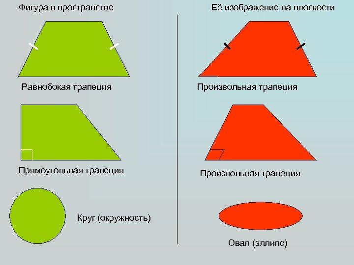 Фигура в пространстве Равнобокая трапеция Прямоугольная трапеция Её изображение на плоскости Произвольная трапеция Круг