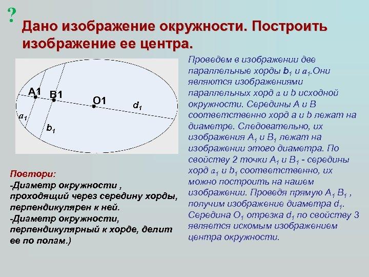 ? Дано изображение окружности. Построить изображение ее центра. А 1 В 1 а 1