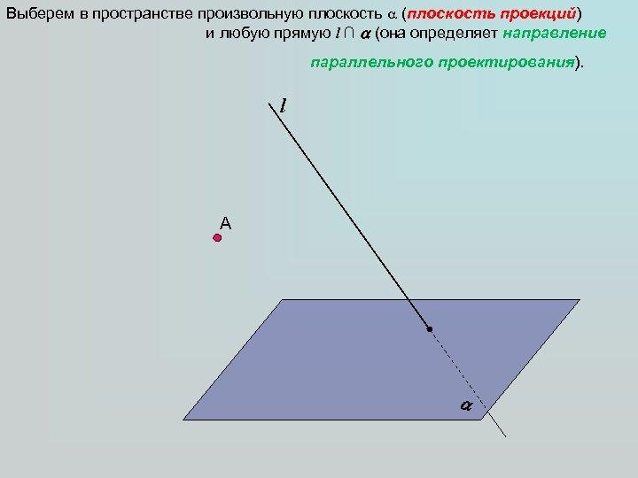 Выберем в пространстве произвольную плоскость (плоскость проекций) и любую прямую l ∩ (она определяет