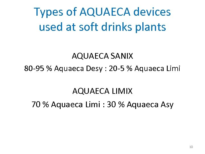 Types of AQUAECA devices used at soft drinks plants AQUAECA SANIX 80 -95 %