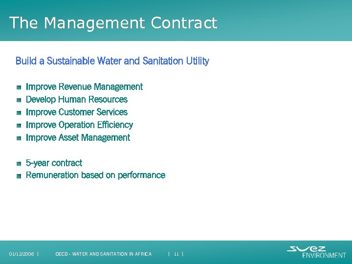 The Management Contract Build a Sustainable Water and Sanitation Utility Improve Revenue Management Develop