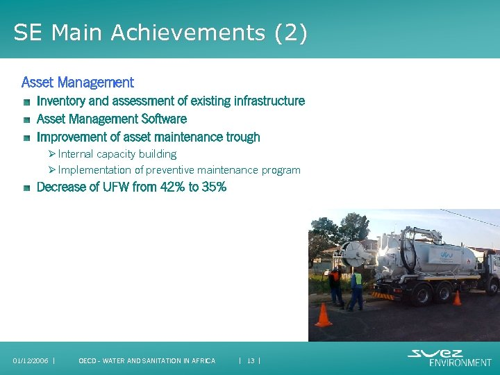 SE Main Achievements (2) Asset Management Inventory and assessment of existing infrastructure Asset Management