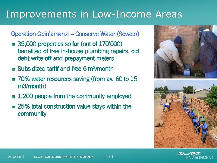 Improvements in Low-Income Areas Operation Gcin'amanzi – Conserve Water (Soweto) 35, 000 properties so